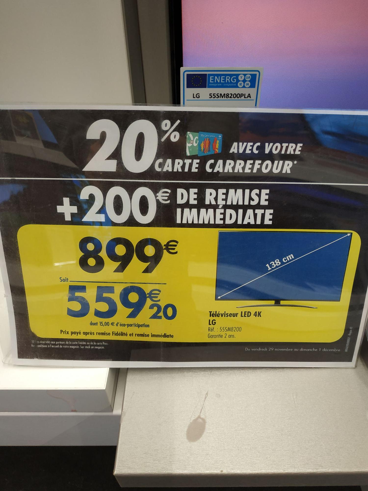 """TV 55"""" LG 55Sm8200 (via 20% sur la carte) - Ile-de-France (91)"""