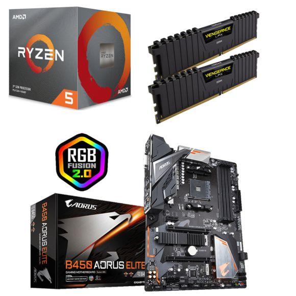CPU AMD Ryzen 5 3600 Wraith Stealth Edition - 3,6/4,2 GHz + Kit RAM Vengeance LPX 16 Go 2 x 8 Go DDR4 3000 MHz Cas 15 + CM B450 Aorus Elite