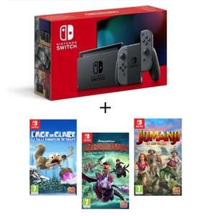 Pack Console Nintendo Switch + Dragons + Age de Glace 3 + Jumanji