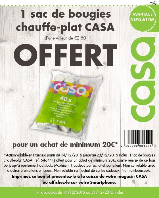 1 sac de bougies chauffe-plat Casa offert (valeur 2,50€) dès 20€ d'achat