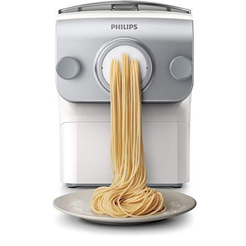 Machine à pâtes automatique Philips HR2375/00 - 4 disques de forme, Argent et Blanc