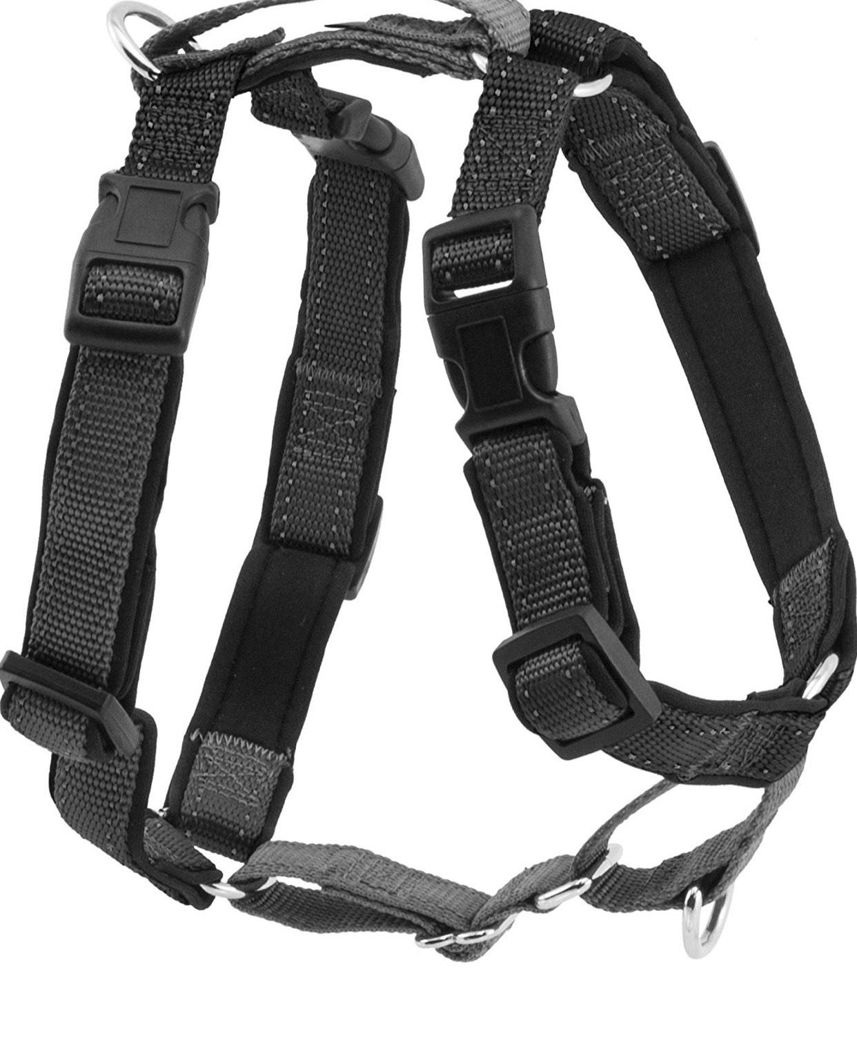 Harnais 3-en-1 PetSafe pour Chien Rembourré Noir (M) - Ceinture de Sécurité pour Utilisation en Voiture / Harnais Anti-Traction