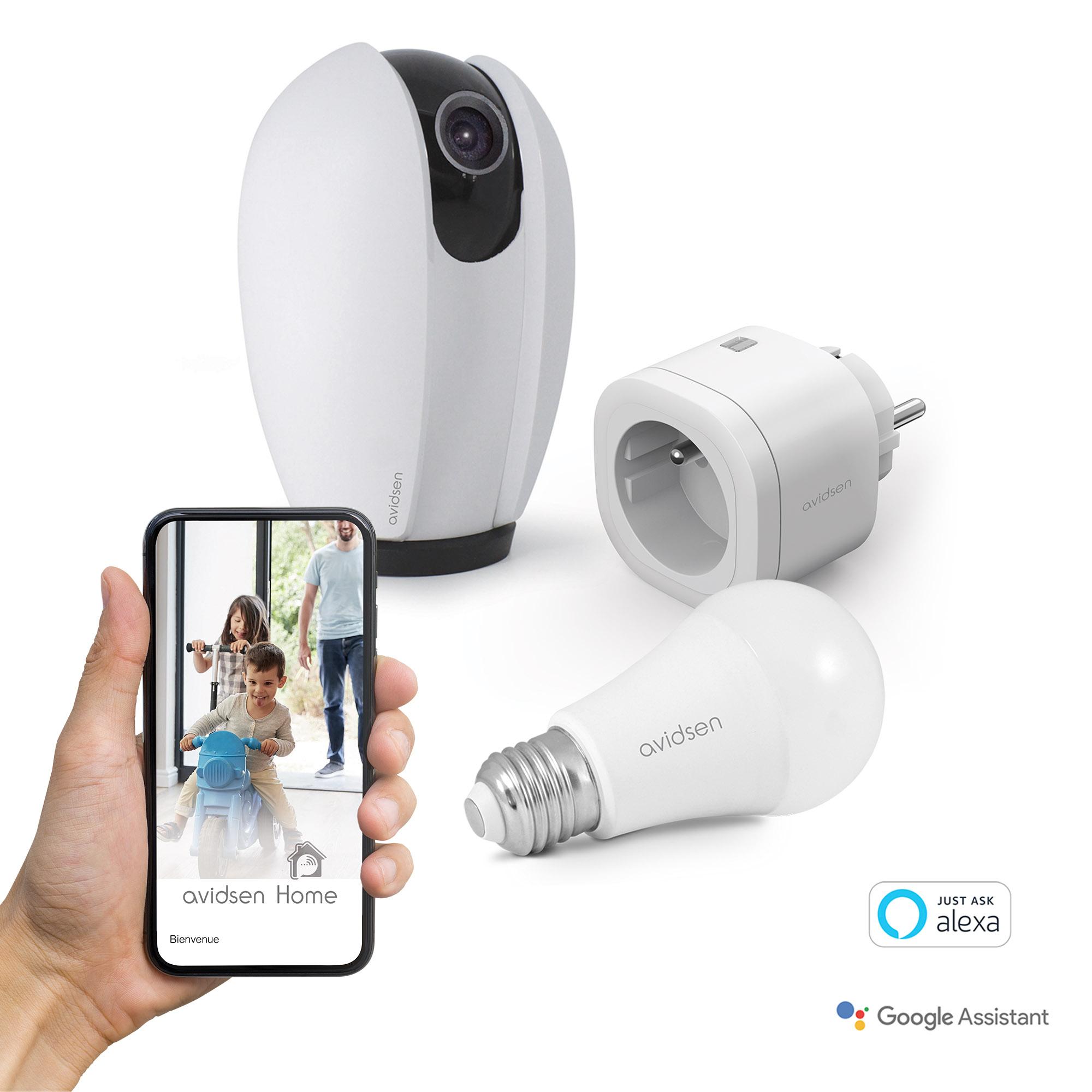 Avidsen Home Kit Start connect (Google home mini + caméra + prise + ampoule connecté)