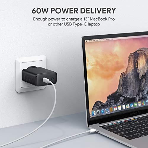 Chargeur Aukey USB C doté de GaN, Chargeur Mural USB avec 60W Power Delivery 3.0 (vendeur tiers)