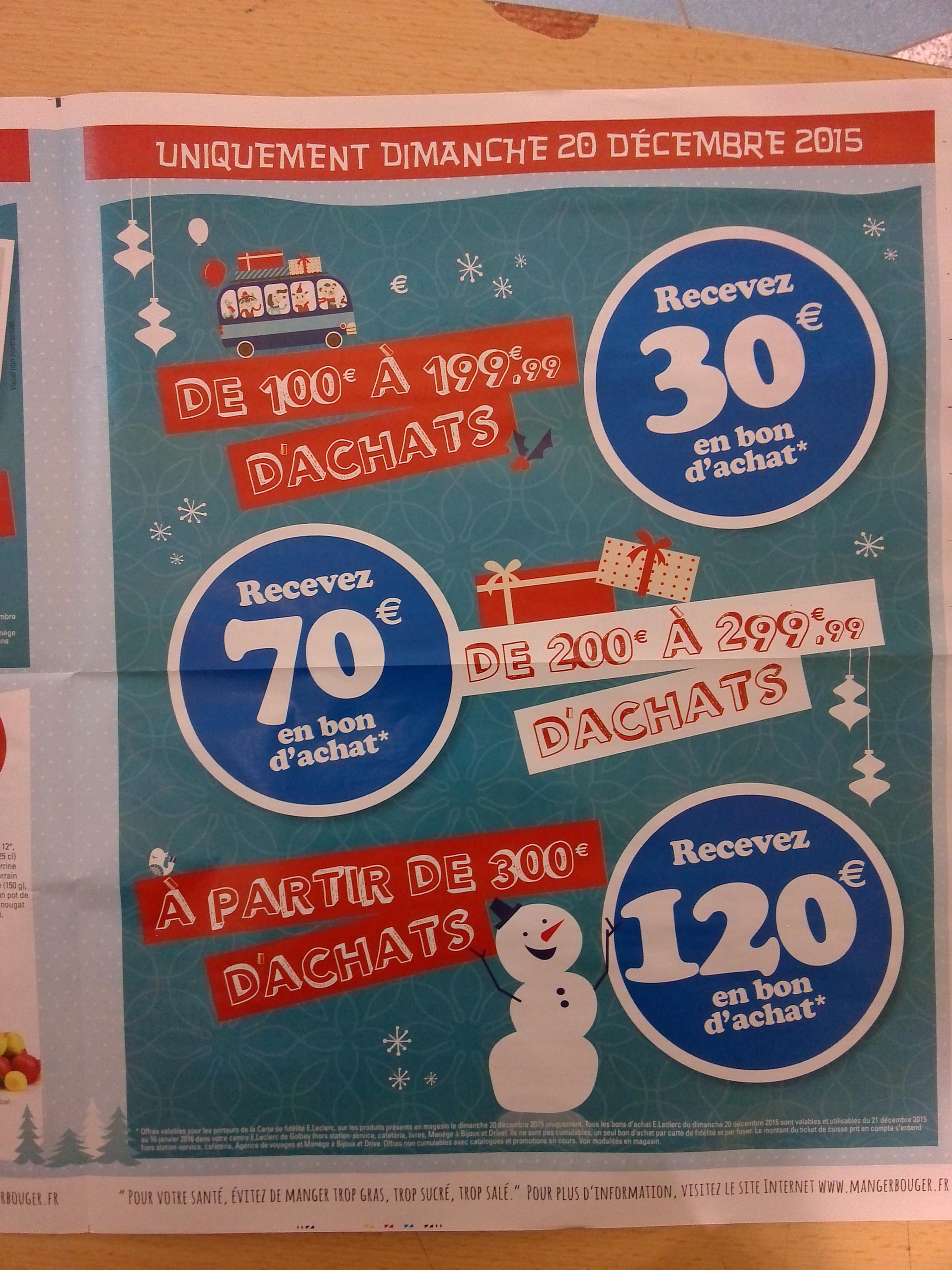 30€ offerts en bon d'achat dès 100€ d'achat, 70€ dès 200€ et 120€ offerts dès 300€ d'achat ex ps4