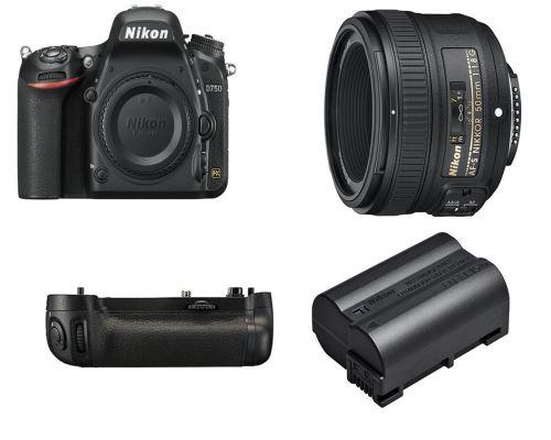 Appareil photo Nikon D750 (full frame, 24.3Mpx) + Objectif Nikkor 50 mm F/1.8G + Poignée d'alimentation MB-D16 + Batterie Supp.
