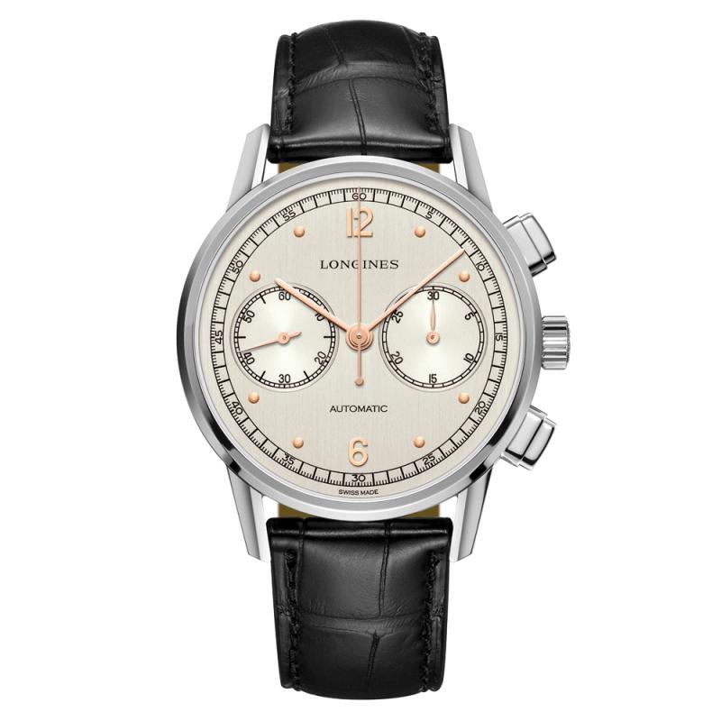 Montre Longines Heritage Chronograph 1940 automatique cadran argenté bracelet cuir noir 41 mm (lepage.fr)