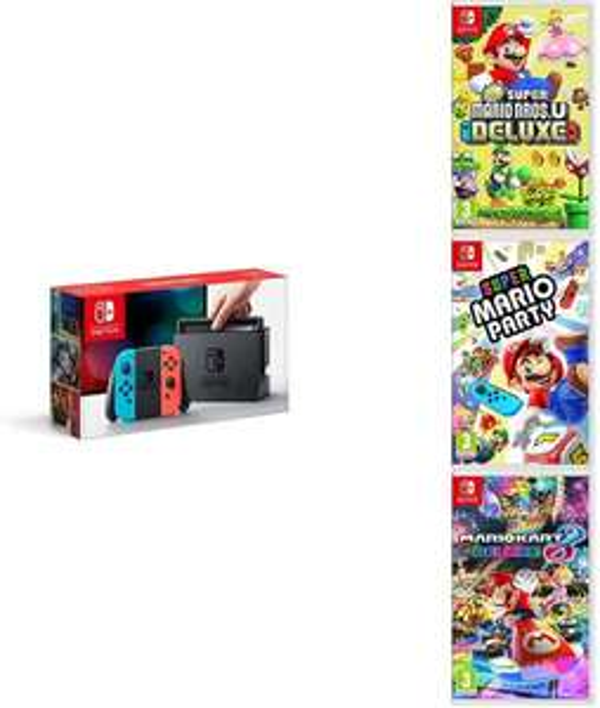 Pack Console Nintendo switch + New Super Mario Bros U Deluxe + Super Mario Party + Mario Kart 8 Deluxe
