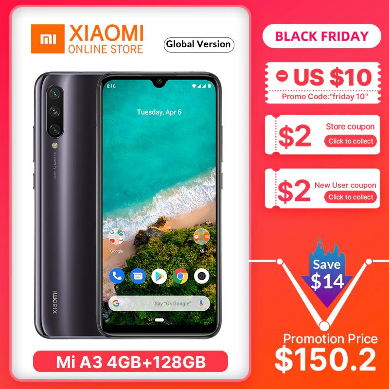"""Smartphone 6.09"""" Xiaomi Mi A3 - HD+, SnapDragon 665, RAM 4 Go, 128 Go, 4G (B20 / B28), Bleu / Noir / Blanc"""