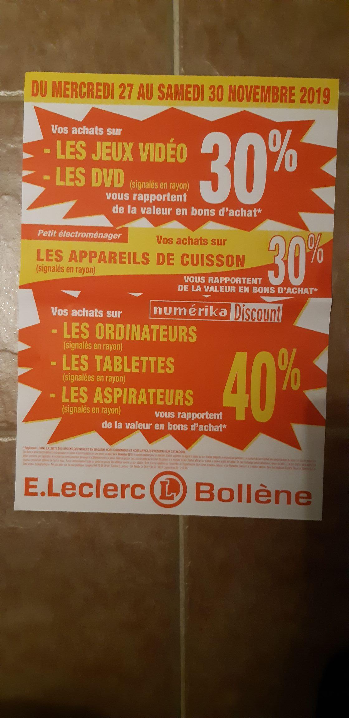 30% offert en bon d'achat sur les jeux vidéos - Leclerc Bollène (84)