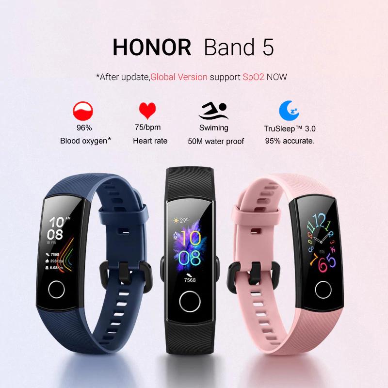 Montre Connectée Honor Band 5 - Version Globale, Bleu ,Noir ,Rose