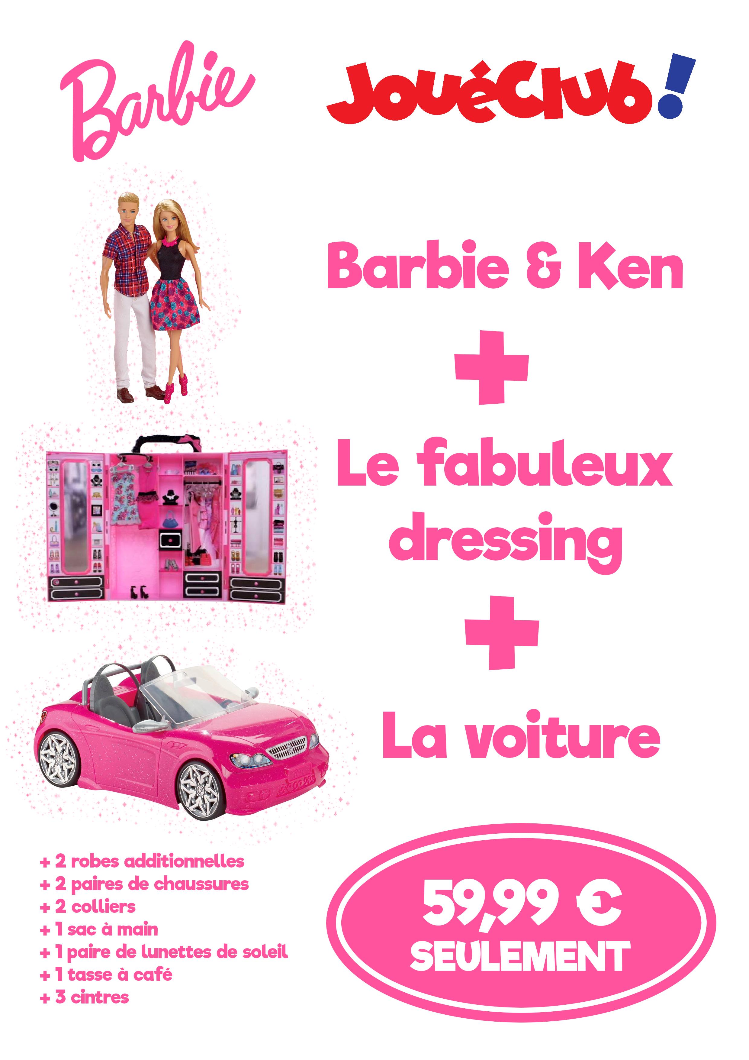 Barbie + Ken + dressing + voiture + accessoires à 59,99 € - JouéClub Bain de bretagne (35)