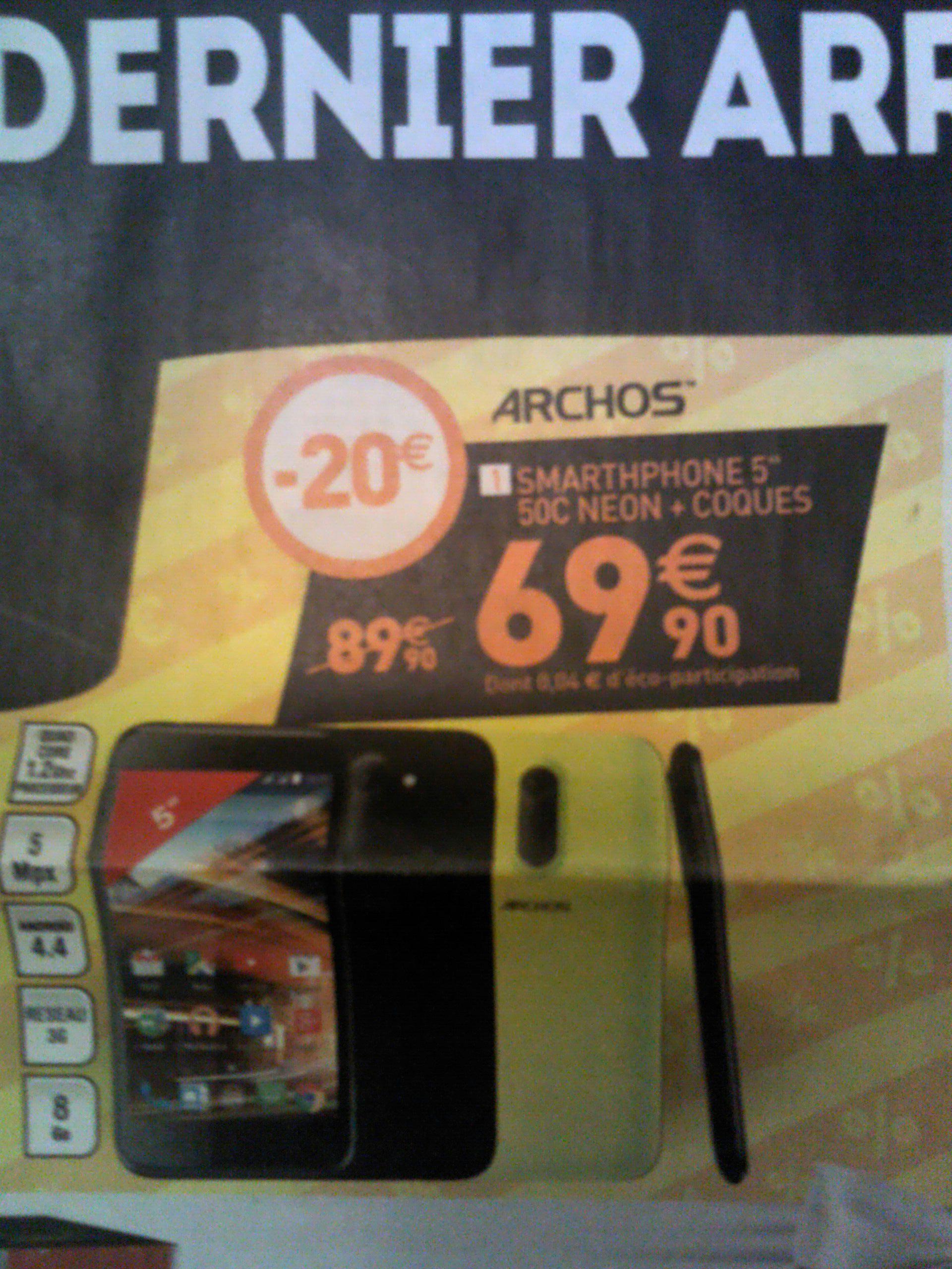 """Smartphone 5"""" Archos 50C Néon (RAM 1 Go, ROM 8 Go, 3G+) + Coque"""