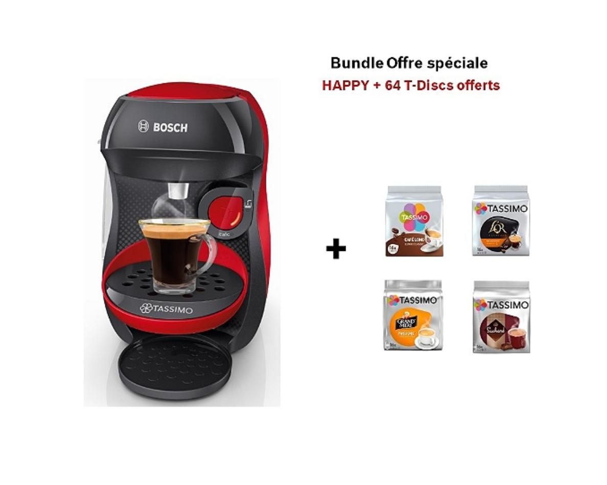 Machine à capsules Tassimo Bosch Happy Rouge TAS1003 + 4 paquets de T-Discs (Via 50% sur Carte Fidélité)
