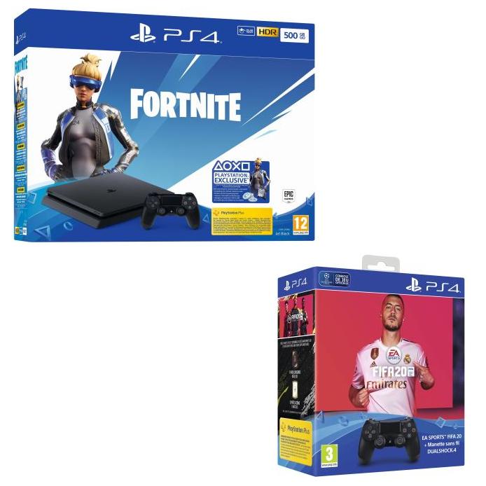 Console Sony PS4 Slim Noir (500 Go) avec Voucher Fortnite + 2ème Manette DualShock 4 Noir + FIFA 20 + Pack FUT 20 + PS Plus 14 jours
