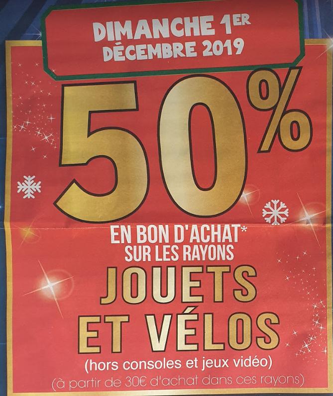 50% offerts en bon d'achat sur les rayons Jouet et Vélos (Hors exceptions) - E. Leclerc Montévrain (77)