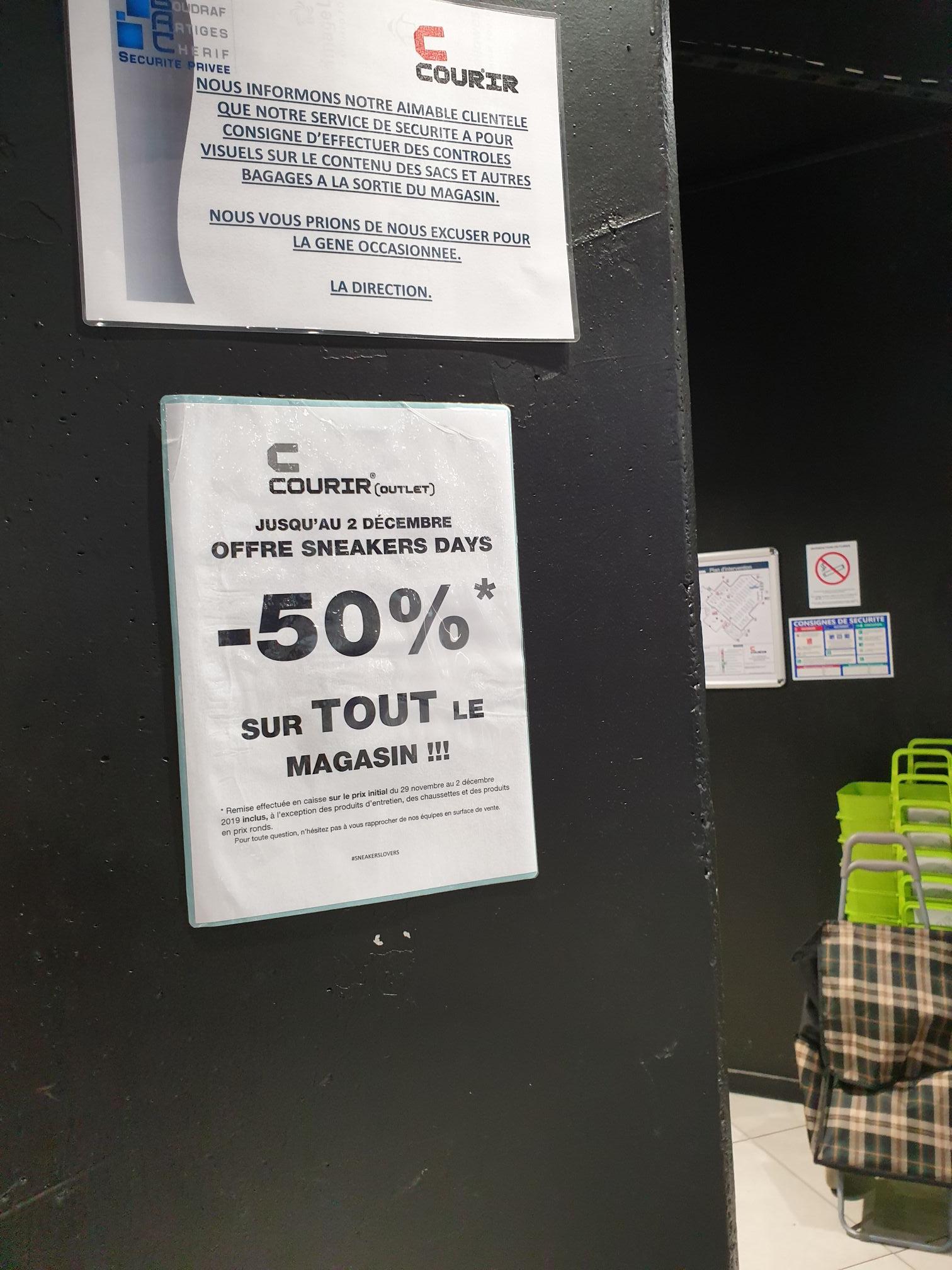 -50% sur tout le magasin - Courir Outlet Pantin (93500)
