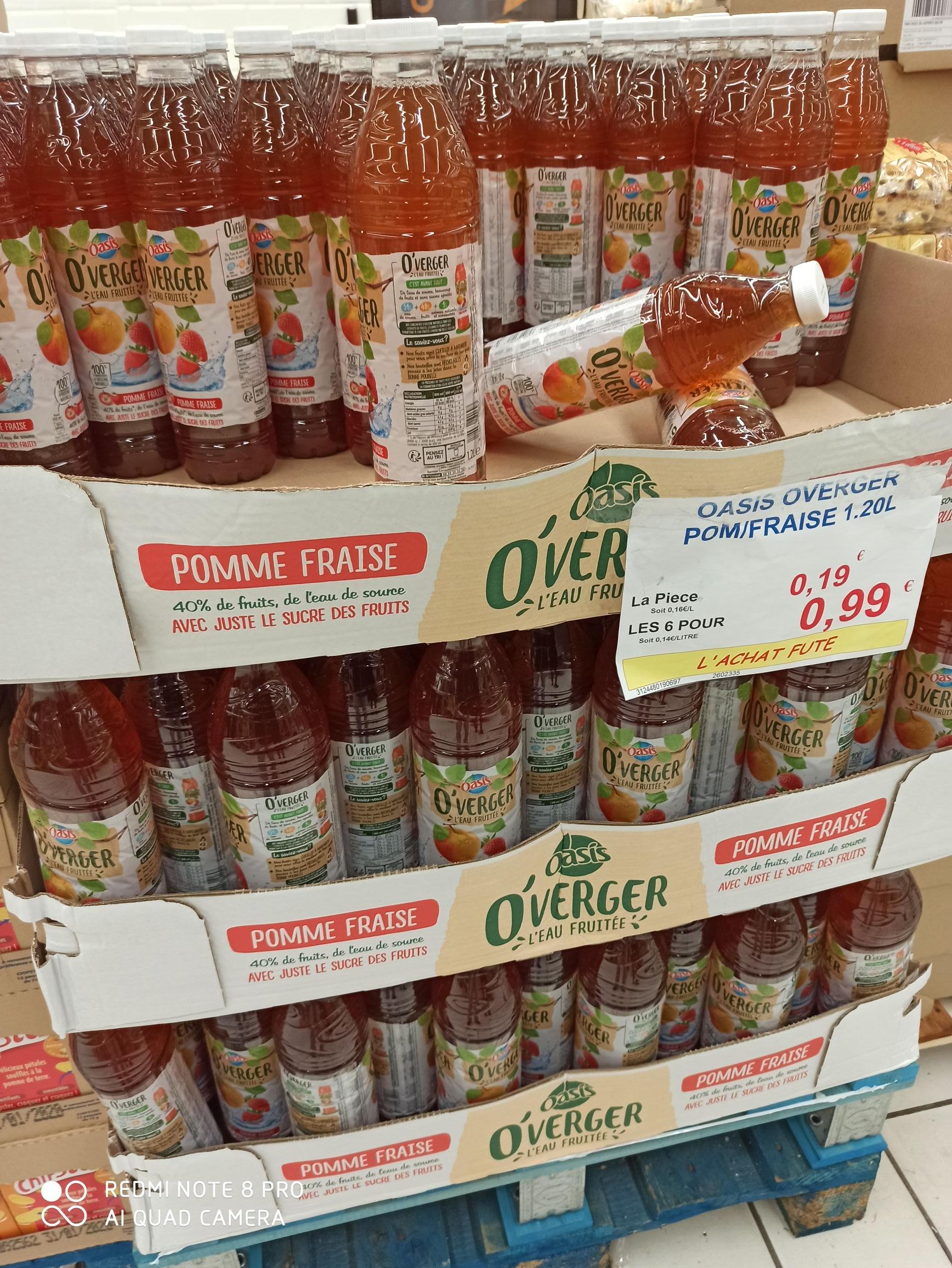 Lot de 6 bouteilles d'Oasis O'verger 0,99€ - ou une bouteille 1,20L 0,19€- Persan (95)