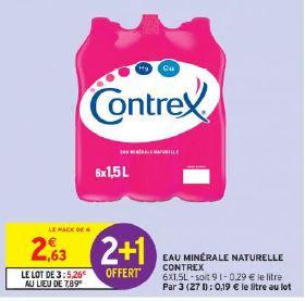 Lot de 3 packs de 6 bouteilles d'eau minérale naturelle Contrex - 18 x 1,5 L