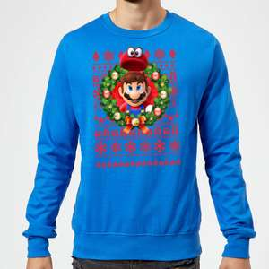 Sweat de Noël Homme Nintendo Mario And Cappy - Bleu Roi, du S au 2XL
