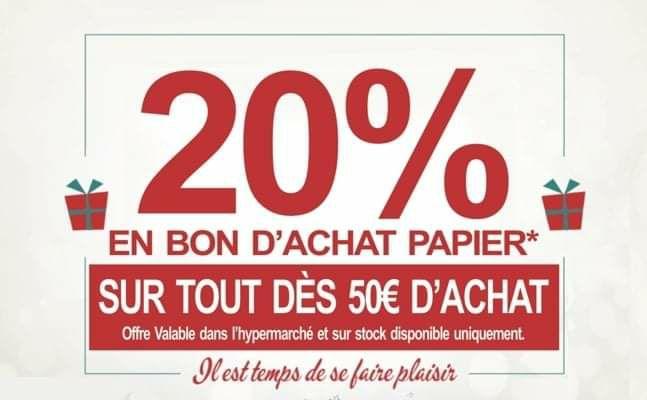 20% offerts en bon d'achat dès 50€ d'achat - Leclerc Marly (57)