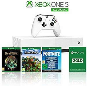 Xbox One S 1To All Digital + Minecraft + Sea of Thieves + Fortnite + 1 mois Xbox Live Gold