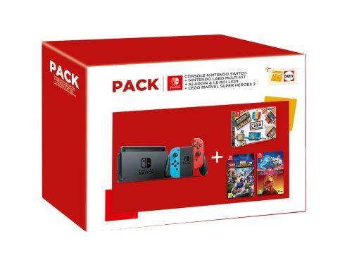 Pack Console Nintendo Switch + Nintendo Labo Multi-Kit + Aladdin et le Roi Lion + Lego Marvel Super Heroes