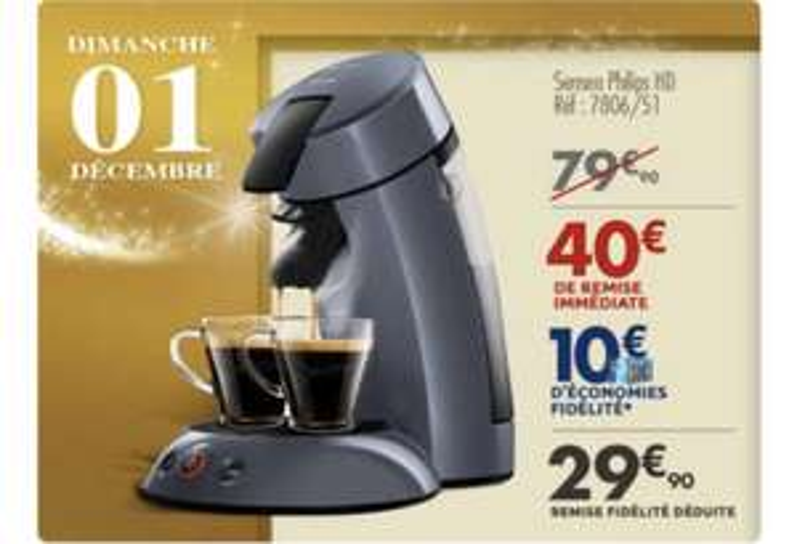 Machine à café dosette Philips Senseo (via 10€ sur la carte fidélité)