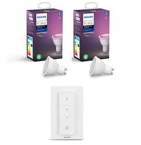 Pack Philps HUE: 2 Ampoules White & Color Ambiance (GU10 - Bluetooth ) + Philips Hue Dim Switch Télécommande