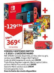 Console Nintendo Switch + 5 jeux + Sacoche (Frontaliers Luxembourg)
