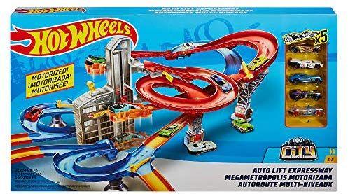 Circuit pour voitures miniatures Hot Wheels FXN21 HW - avec 5 voitures