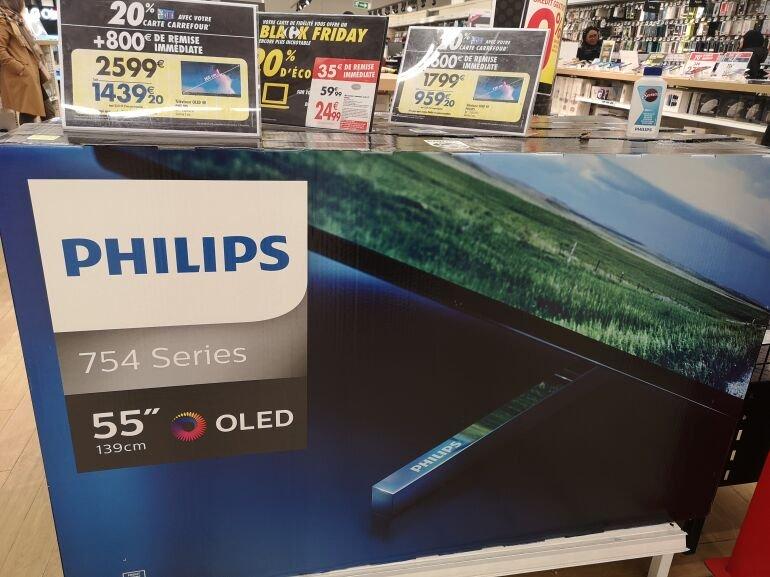"""TV 65"""" Philips 65OLED754 -OLED, UHD 4K (Via 359,2€ sur carte fidélité) - O'Parinor Aulnay sous Bois (93)"""
