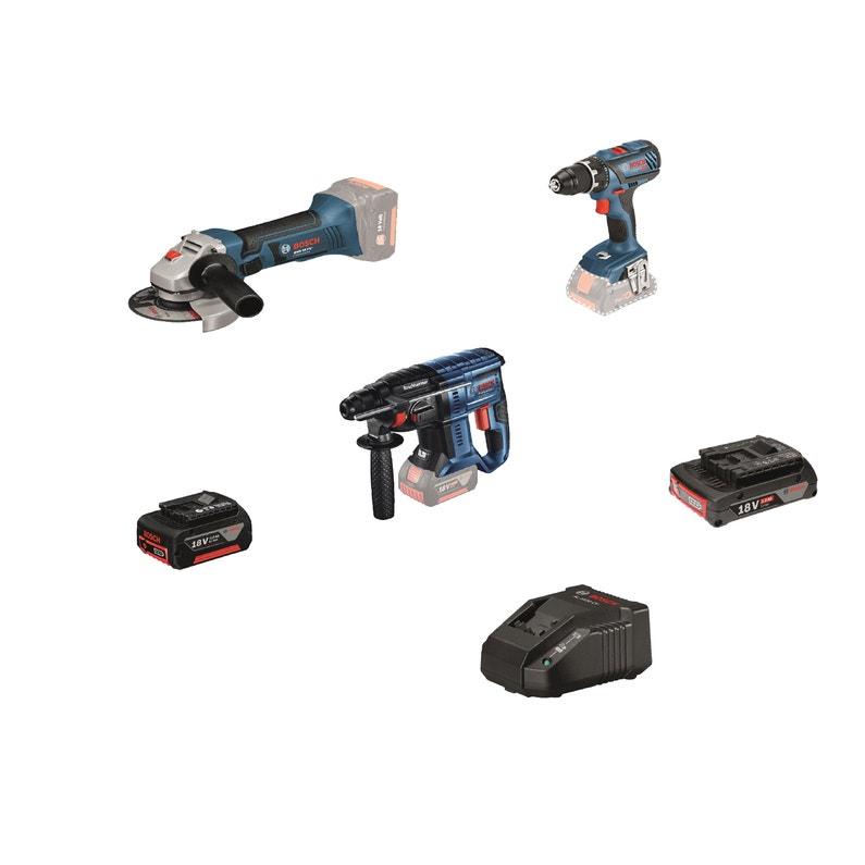 Pack de 3 outils électro-portatif Bosch Pro: Perceuse sans fil, perforateur et meuleuse - 18 V 4 Ah, 3 batteries