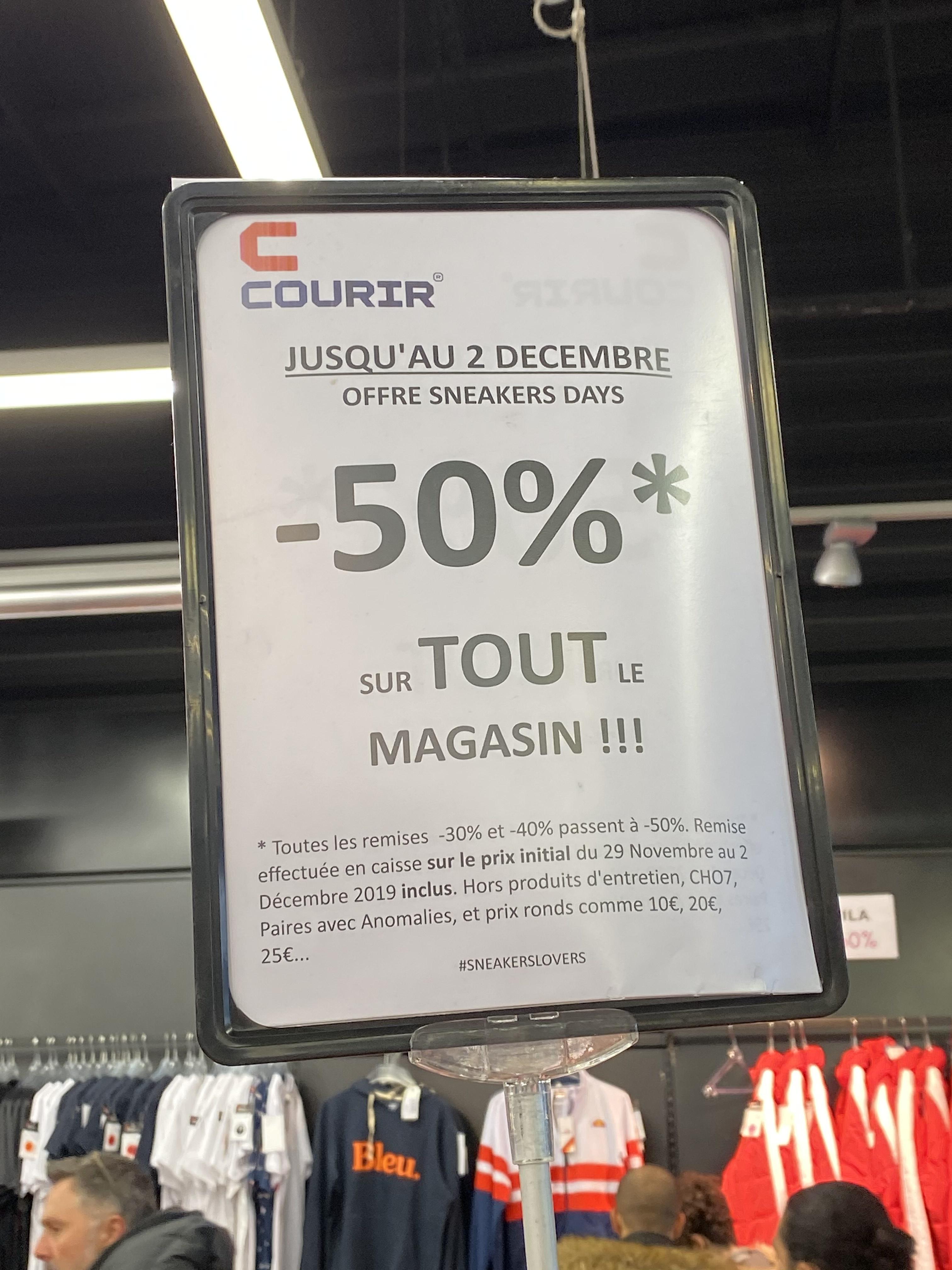 50% de réduction sur tout le magasin (Hors exceptions) - Courir Saint Genevieve (91)