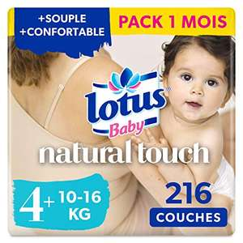 Lot de 6 paquets de 36 couches Lotus Baby Natural Touch - Taille 4+