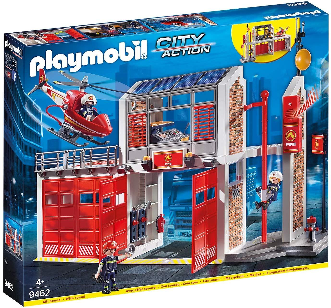 Jouet PLAYMOBIL 9462 - La caserne de pompiers avec hélicoptère
