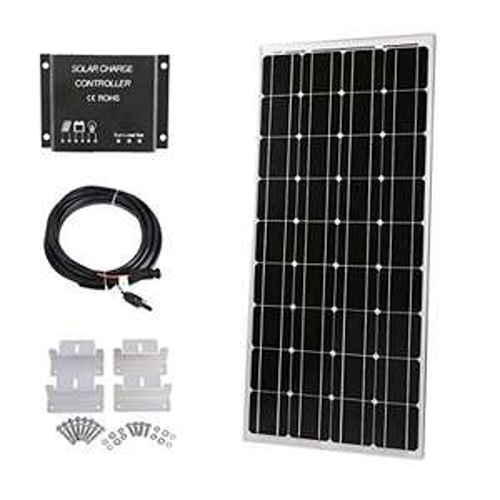 Kit Panneau Solaire 100W 12V + Contrôleur de Charge de lumière LCD 10A + Câble Adaptateur 3m + Supports de Montage (Vendeur Tiers)