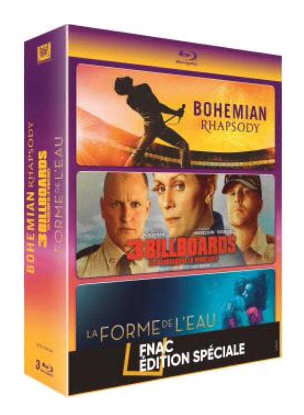 Coffret Blu-Ray Bohemian Rhapsody, 3 Billboards et La Forme de l'eau (+ 5€ de Chèque Cadeau pour les Adhérents)