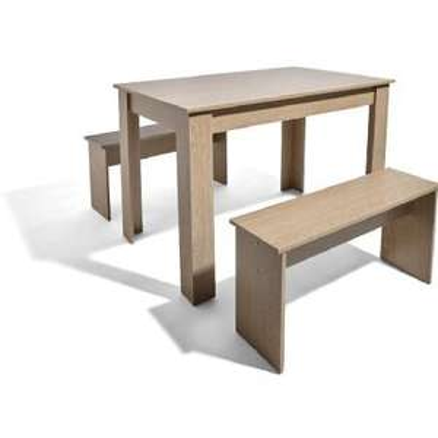 Ensemble repas 3 pièces - Table de 120x77x70cm + 2 Bancs