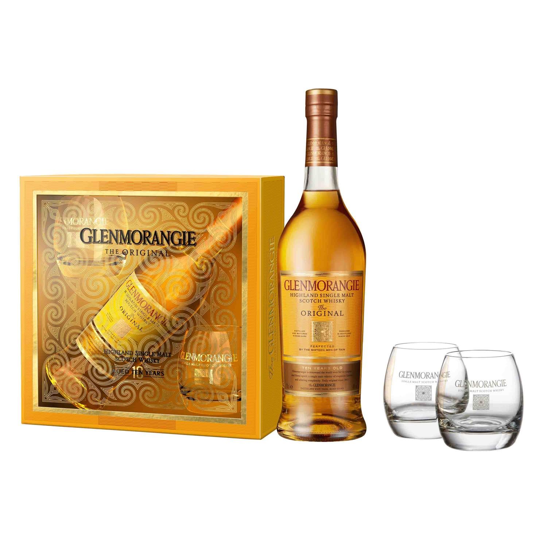 Bouteille de Whisky Glenmorangie - 70 cl (10 ans d'âge) + 2 verres (Via 5€ sur la carte fidélité + Bon d'achat de 10€)