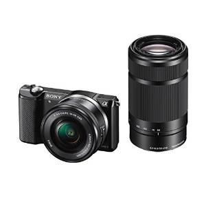 Appareil photo numérique hybride  Sony A5000 ILCE5000YB.CEC 20 Mpix Zoom optique 4x + Objectif 16-50 mm rétractable Noir + 55-210 mm Noir