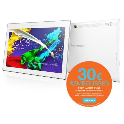 "Tablette 10.1"" Lenovo Tab 2 A10-30 - IPS blanche ou bleu (ODR 30€)"