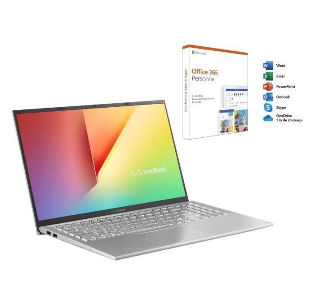 "PC portable 15.6"" full HD Asus VivoBook S512DA-EJ315T (Ryzen 7 3700U, 8 Go de RAM, 256 Go en SSD) + licence d'un an à Office 365"