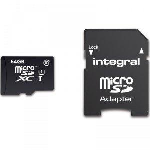 Carte microSDXC Integral UltimaPro Classe 10 (jusqu'à 90 Mo/s) - 64 Go avec adaptateur