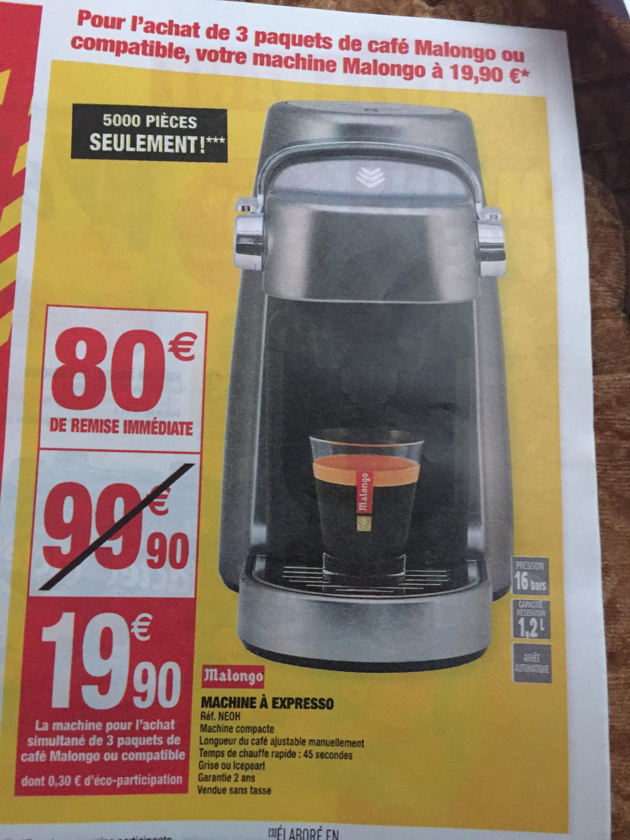 Machine expresso à dosettes Malongo + 3 paquets de café