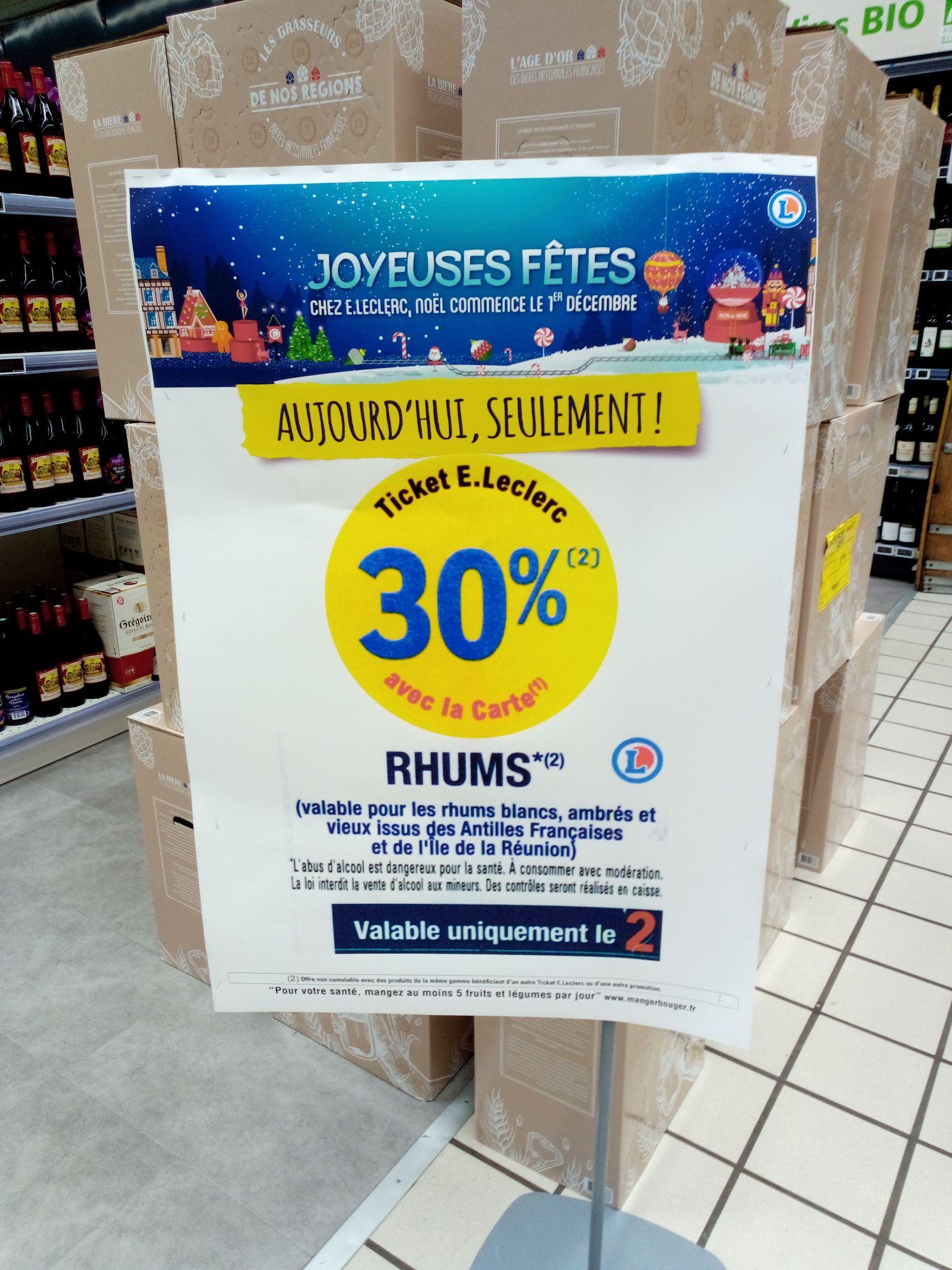 30% crédités sur la carte fidélité sur rhums blancs, ambrés et vieux issus des Antilles - Saint Étienne du Rouvray (76)