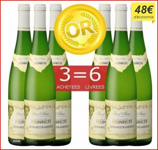 6 bouteilles de Vin Blanc d'Alsace Heinrich Gewurztraminer