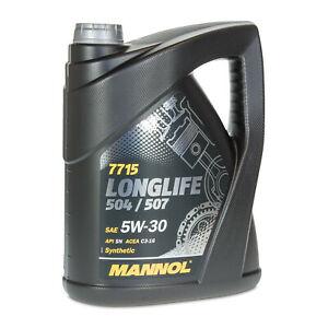 Huile moteur 504/507 MANNOL 7715 Long Life pour VW/Audi/Seat/Skoda 5L