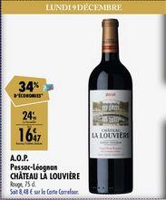 Bouteille de vin Château la Louvière - Pessac Leognan 2016 (via 8,48€ sur Carte Fidélité)