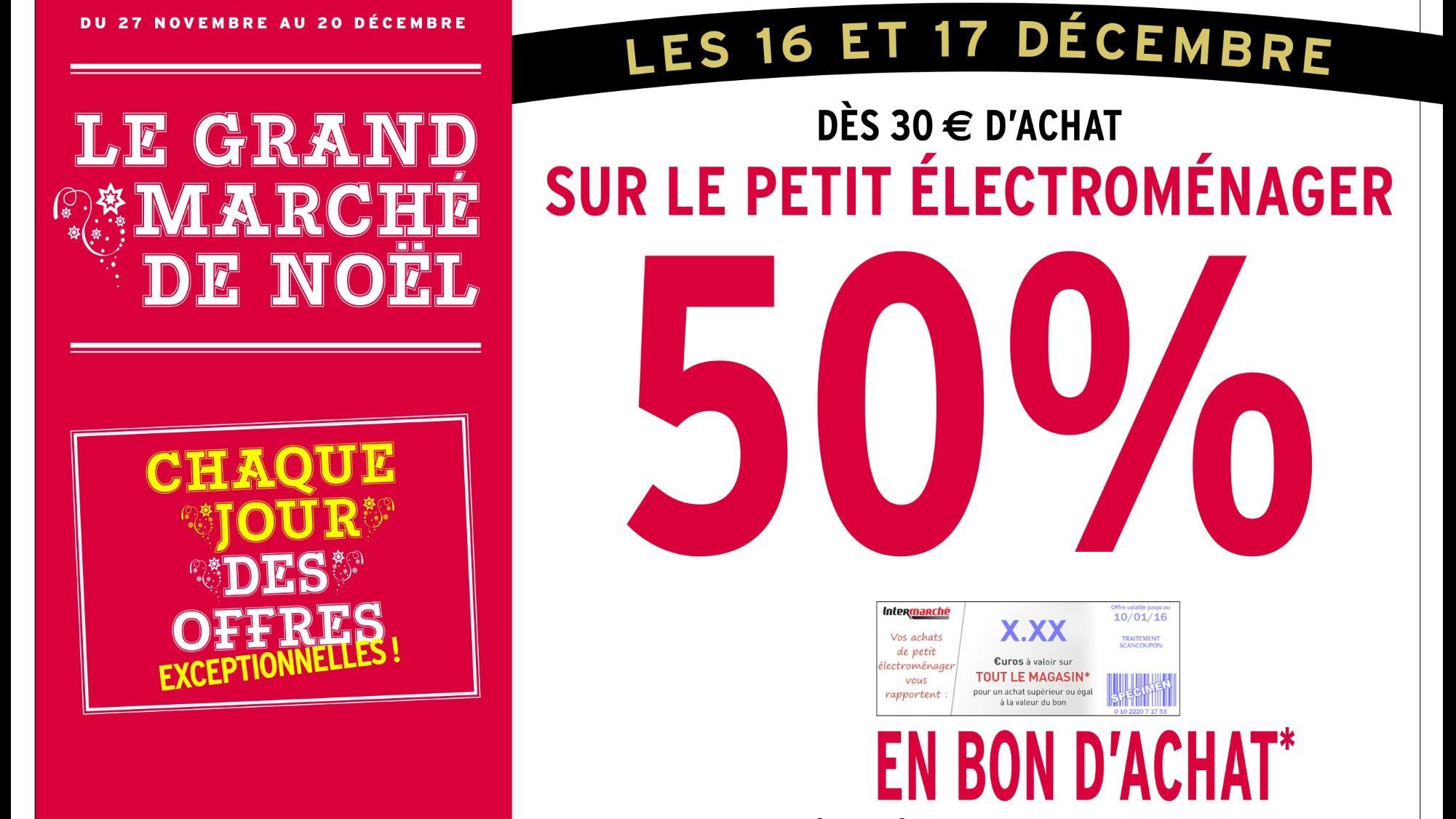 50% en bon d'achat dès 30€ d'achat sur le Petit Electroménager